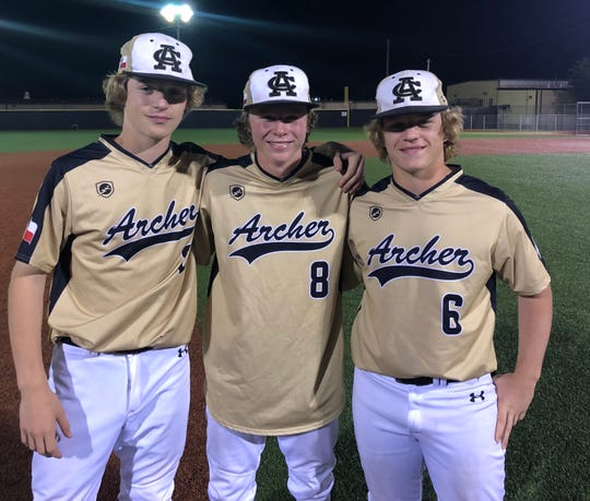 Archer City's Layne Briggs (from left), Kade Dagley and Dylan Briggs share more than a uniform. They also have a tightly held bond as brothers.