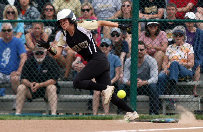 River View's Mikala Ehlinger lays down a bunt against Sheridan.