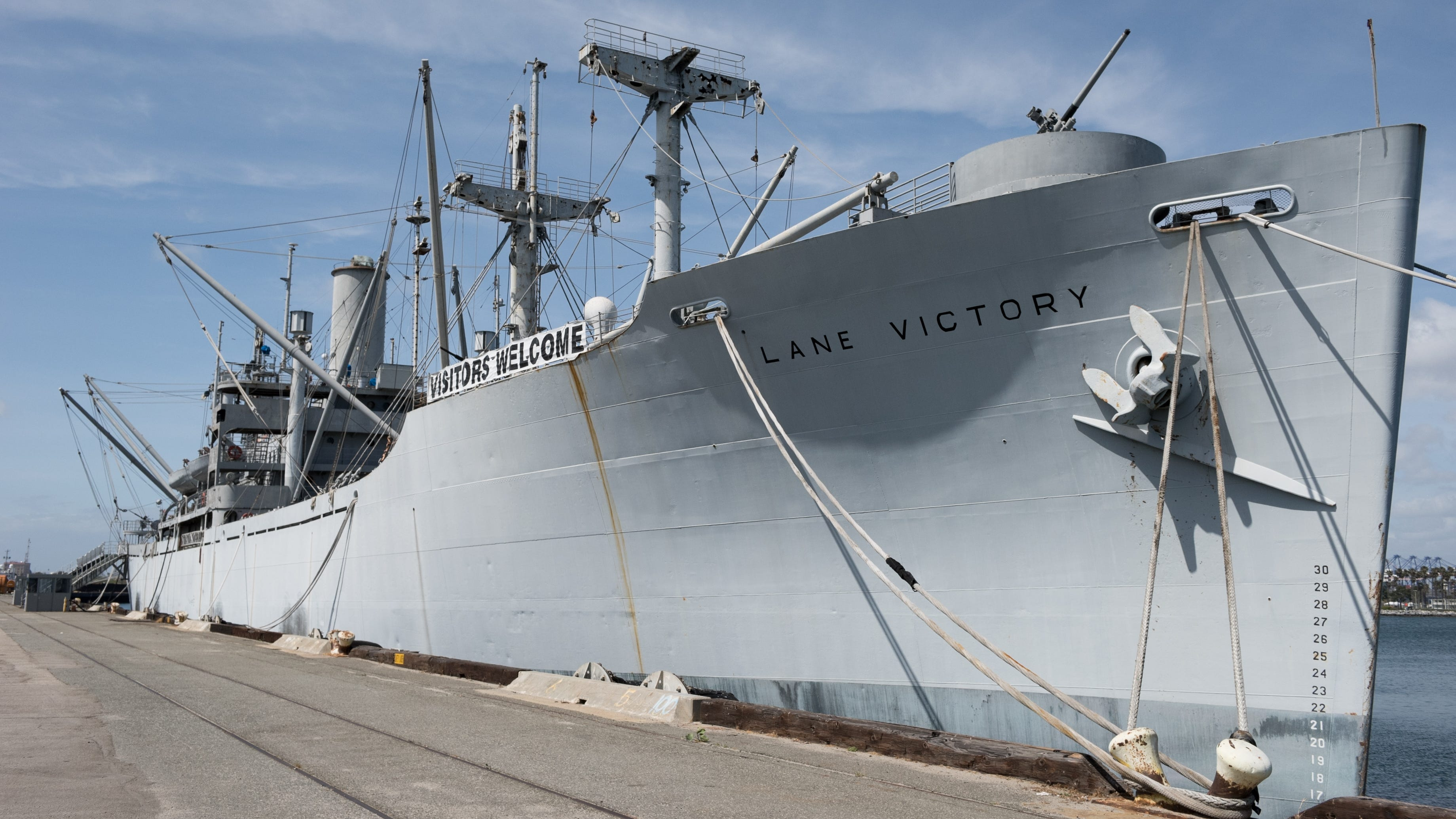 Los Angeles, Calif. - The S.S. Lane Victory docked in the Port of Los Angeles is just one of three remaining Victory ships in the world. The Lane Victory is fighting a losing battle of rust and deterioration and the volunteers overseeing her upkeep are struggling to generate funds for restoration and repairs. Los Angeles, Calif. - The S.S. Lane Victory docked in the Port of Los Angeles is just one of three remaining Victory ships in the world. The Lane Victory is fighting a losing battle of rust and deterioration and the volunteers overseeing her upkeep are struggling to generate funds for restoration and repairs. (Via OlyDrop)