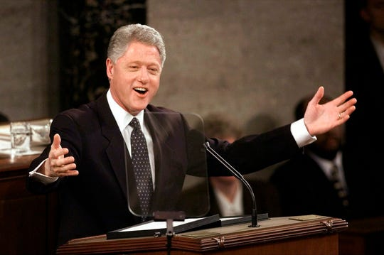 President Bill Clinton delivers the State of The Union address on Jan. 19, 1999.