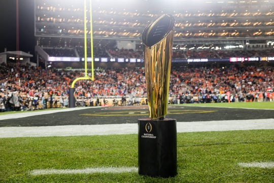A view of the College Football Playoff trophy during the 2019 championship game.