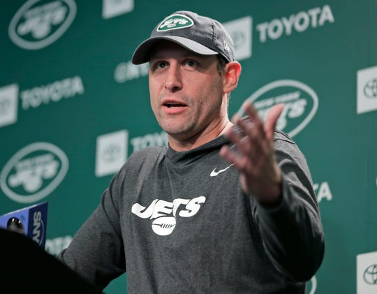 Jets head coach Adam Gase takes questions from reporters before the NFL football team's practice in Florham Park, N.J.