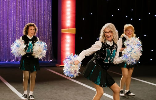 "Rhea Perlman, from left, Diane Keaton and Jacki Weaver get their cheerleader on in ""Poms."""