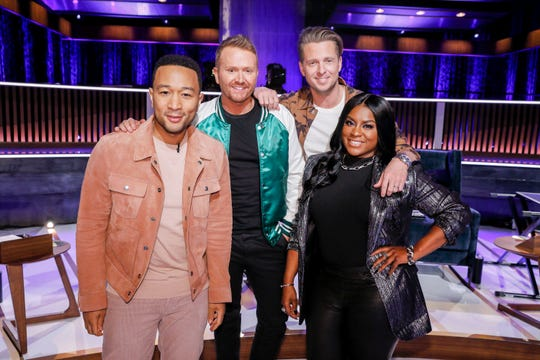 "John Legend, left, Shane McAnally, Ryan Tedder and Ester Dean are looking for the next big songwriter in NBC's new reality competition ""Songland."""