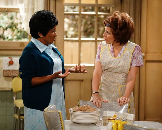 In a night of excellent performances, Wanda Sykes, left, as Louise Jefferson, and Marisa Tomei, as Edith Bunker, stood out for their portrayals of classic sitcom characters from 'The Jeffersons' and 'All in the Family.'