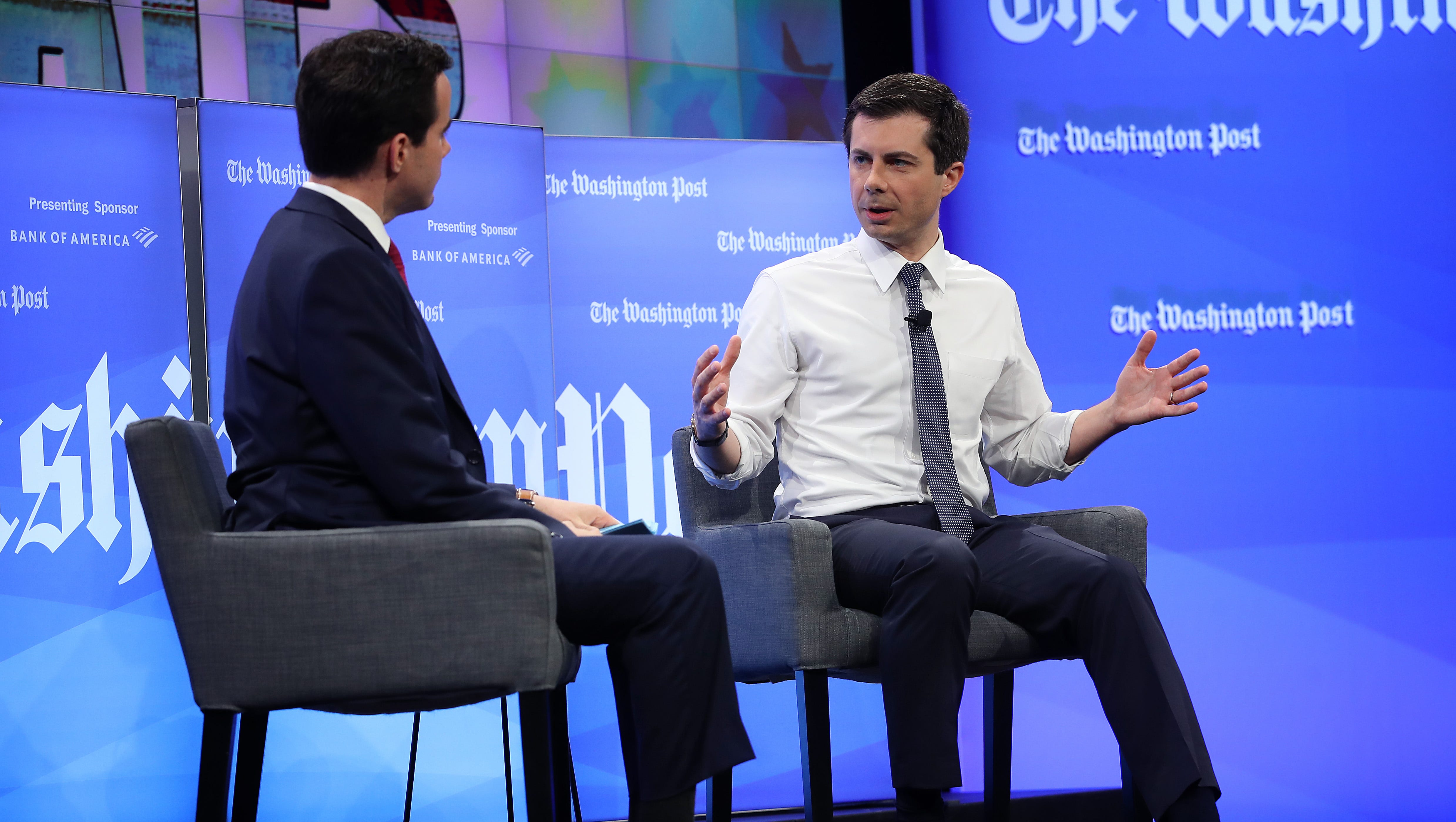 WASHINGTON, DC - MAY 23:  Democratic presidential candidate Mayor Pete Buttigieg (R) answers questions from reporter Robert Costa (L) at a Washington Post Live discussion May 23, 2019 in Washington, DC.  (Photo by Win McNamee/Getty Images)