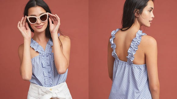 This adorable blouse is perfect for summer weather.