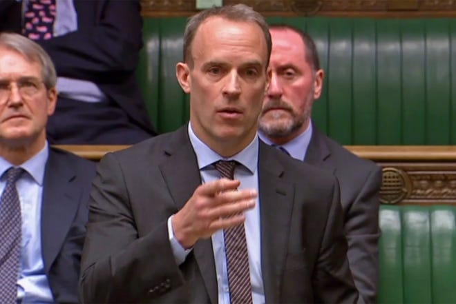 Dominic Raab, 46, is Britain's first secretary of state and Prime Minister Boris Johnson's de facto deputy.