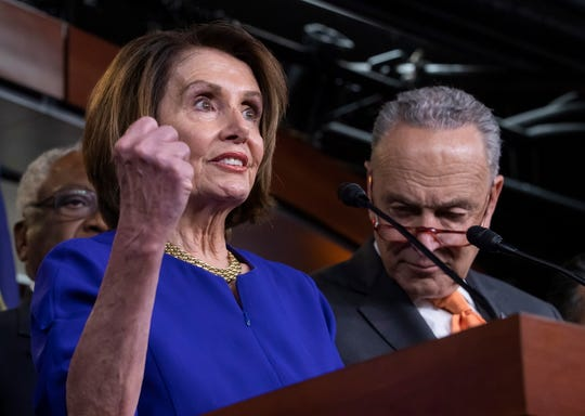 Democratic Speaker of the House  Nancy Pelosi and Senate Minority Leader from New York Chuck Schumer hold a news conference at the Capitol in Washington, D.C., May 22, 2019.