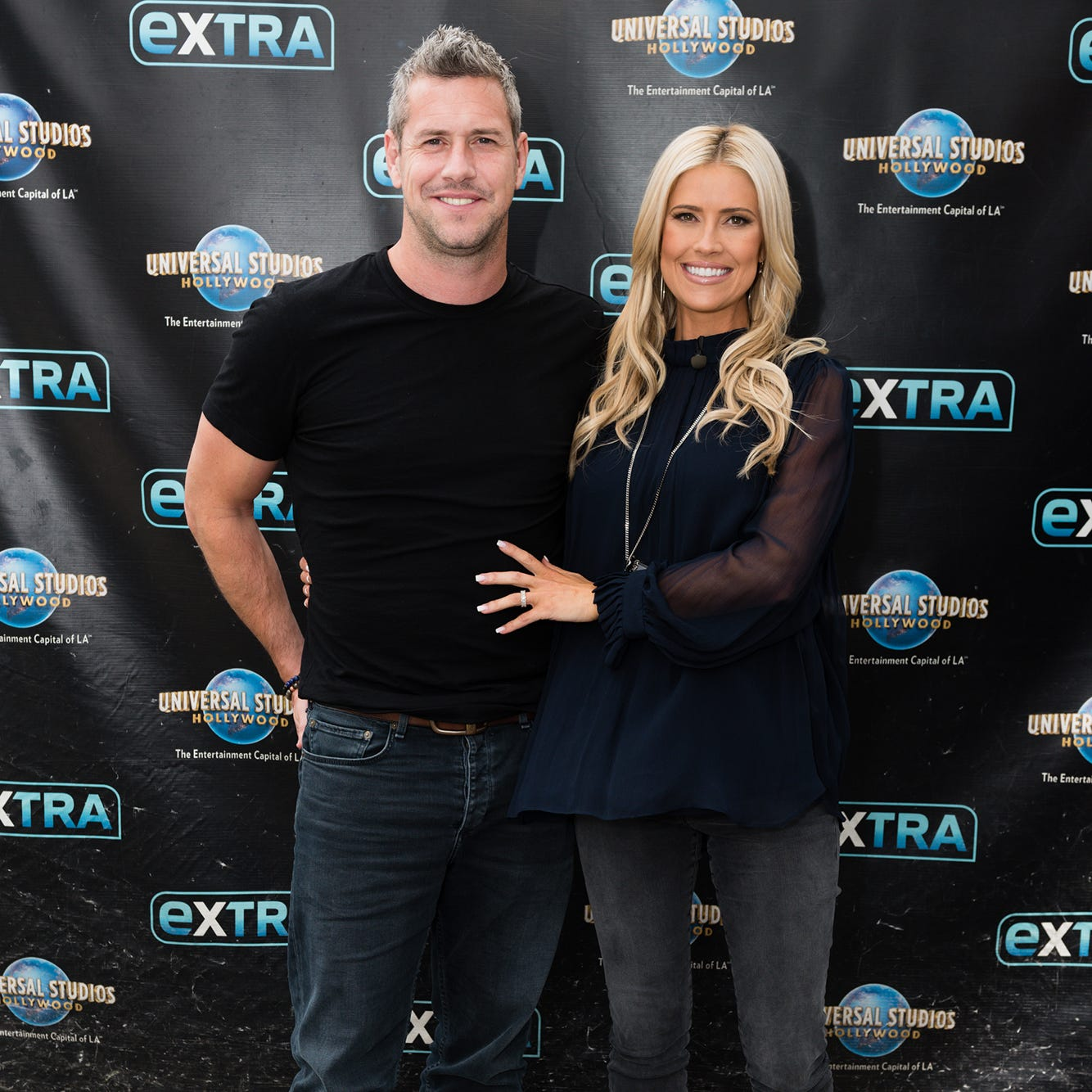 """UNIVERSAL CITY, CALIFORNIA - MAY 22: Christina Anstead and Ant Anstead visit """"Extra"""" at Universal Studios Hollywood on May 22, 2019 in Universal City, California. (Photo by Noel Vasquez/Getty Images)"""
