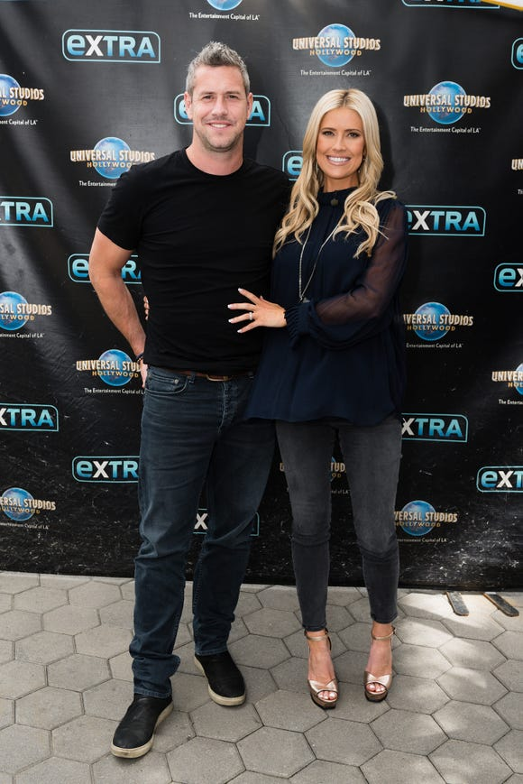 """Christina on the Coast"" star Christina Anstead and her husband, TV presenter Ant Anstead, visit ""Extra""on May 22, 2019 in Universal City, California."
