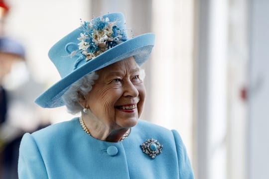 Queen Elizabeth II during her visit to the headquarters of British Airways at Heathrow to mark their centenary year, on May 23, 2019.