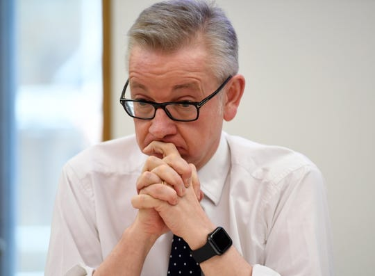 Michael Gove is seen during an event inside the Houses of Parliament in Westminster, London, on April 23, 2019.