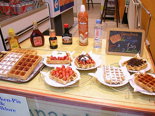 Fresh Liège waffles, Belgium's other great street food, are usually eaten as a warm afternoon snack.