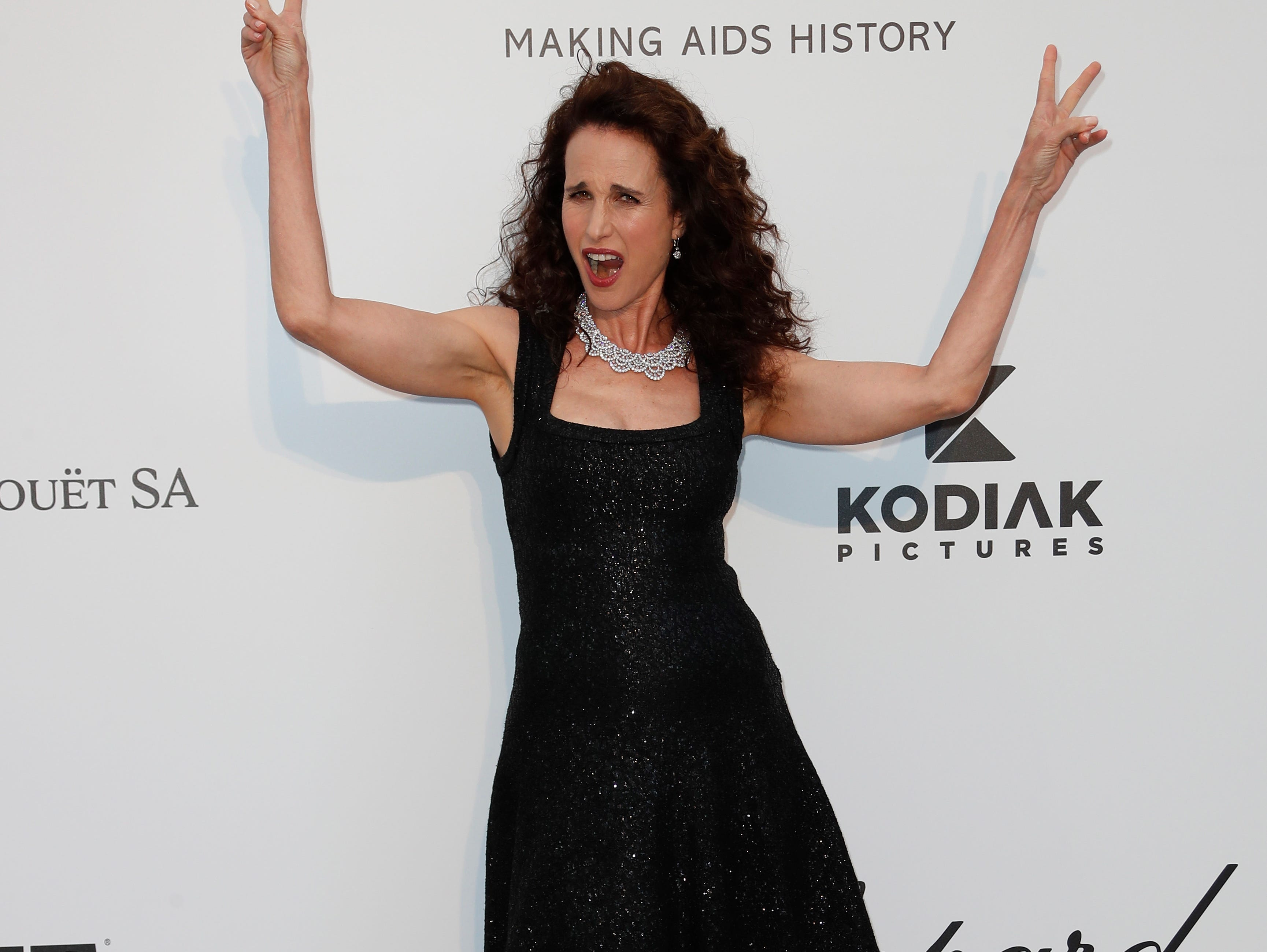 epa07595099 US actress Andie MacDowell attends the Cinema Against AIDS amfAR gala 2019 held at the Hotel du Cap, Eden Roc in Cap d'Antibes, France, 23 May 2019, within the scope of the 72nd annual Cannes Film Festival that runs from 14 to 25 May.  EPA-EFE/SEBASTIEN NOGIER
