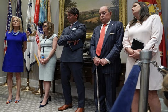 WASHINGTON, DC - MAY 23:  (L-R) Counselor to the President Kellyanne Conway, White House Director of Strategic Communications Mercedes Schlapp, Deputy Press Secretary Hogan Gidley, Director of the National Economic Council Larry Kudlow and Press Secretary Sarah Huckabee Sanders were all called on by President Donald Trump to attest to his demeanor during a Wednesday meeting with Congressional Democrats during an event with farmers and ranchers in the Roosevelt Room at the White House May 23, 2019 in Washington, DC.  (Photo by Chip Somodevilla/Getty Images)