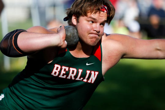 Berlin senior Bradon Gulch participates in the shot put during the WIAA Division 2 Freedom track and field sectional on May 23.
