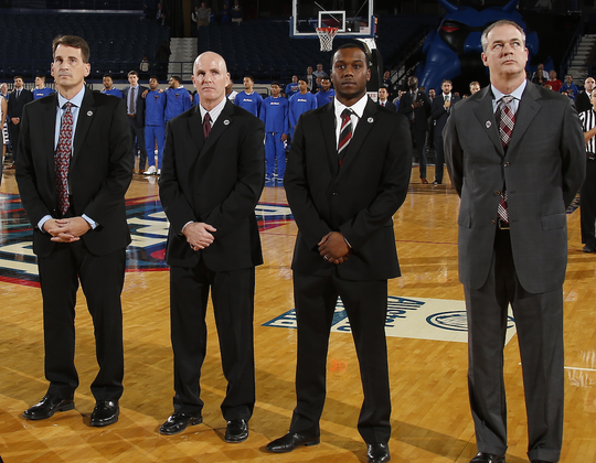 Steve Hayn (far left) will replace Jay Young (second from left) as an assistant coach with Rutgers basketball.