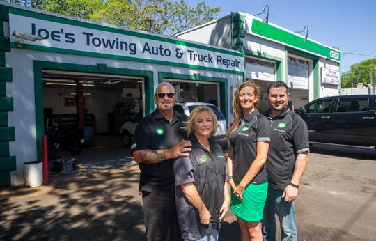 "L to R -  Joe Ocello and Terri Ocello (second generation owners) and Jesse Georgaklis (3rd generation owner) with wife Stacey Georgaklis.  ""Joe's Towing/Pitcrew Lube,"" an over 60-year-old, third-generation lube and repair shop, gas station, and towing service based in Brick."