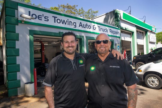 "Jesse Georgaklis (3rd generation owner)  and Joe Ocello (2nd generation owner) at  ""Joe's Towing/Pitcrew Lube,"" an over 60-year-old, third-generation lube and repair shop, gas station, and towing service based in Brick."