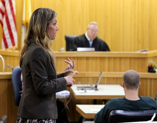 Monmouth County Assistant Prosecutor Megan Doyle argues during a motion hearing in State Superior Court in Friday, May 24, 2019.   Liam McAtasney, who was found guilty by a jury for the murder of Sarah Stern, was seeking a retrial.