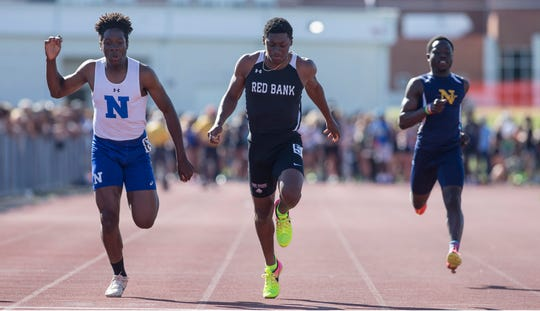 NJSIAA Central Jersey Groups 2 & 3 track and field championships take place at Jackson Liberty High School. Nigel Mitchell of Red Bank Regional competes in the 100m trials.Jackson, NJFriday, May 24, 2019
