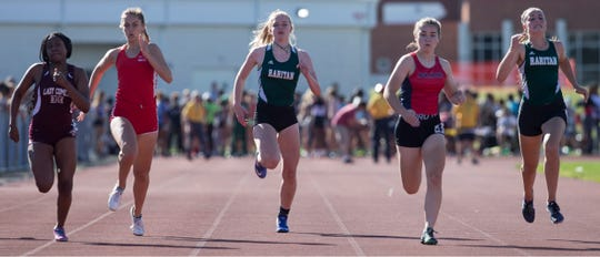NJSIAA Central Jersey Groups 2 & 3 track and field championships take place at Jackson Liberty High School. Lily Orr of Rumson-Fair Haven competes in the 100m trials. Jackson, NJ Friday, May 24, 2019