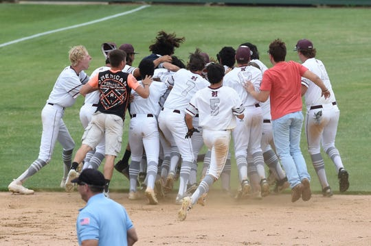 Hawley celebrates after winning 4-3 on Jaron Reynolds' walk-off double against New Deal in Game 1 of the Region I-2A semifinal series at Hardin-Simmons on Friday, May 24, 2019. The Bearcats won 4-3.