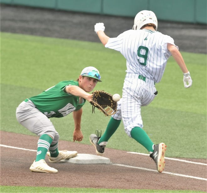 Wall first baseman Sutton Hurst fields the throw as Breckenridge's Justin Bell runs to first base. Bell was safe on the play for a bunt single in the third inning of their Class 3A regional semifinal opener Friday, May 24, 2019, at Abilene Christian University's Crutcher Scott Field. Wall won 5-4.