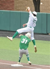 Breckenridge first baseman Aaryn Medina, right, can't come up with the high throw as Wall's Sutton Hurst reaches after putting down a bunt in the second inning. Wall scored its first run on the play en route to a 5-4 victory in the opener of the Region I-3A semifinal series Friday, May 24, 2019, at ACU's Crutcher Scott Field.