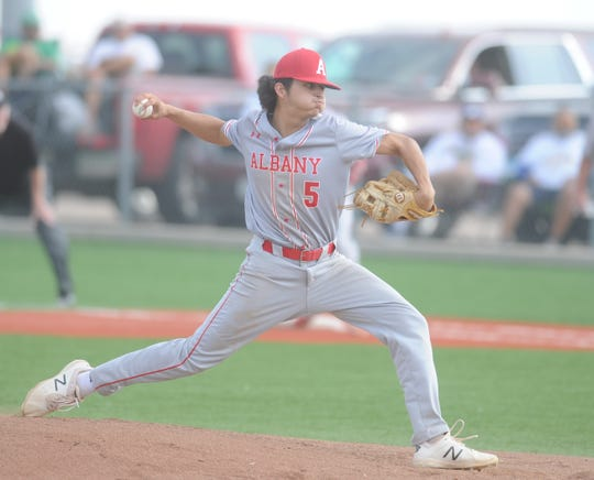 Albany junior Ben West gets ready to pitch during the first inning of Game 1 of a Region I-2A semifinal baseball series against Hale Center on Thursday, May 23, 2019, at Hermleigh Cardinal Field.
