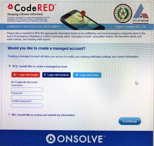 City of Abilene CodeRED signup site.