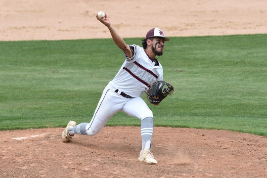 Hawley's Robert Ybarra (1) pitches against New Deal in Game 1 of the Region I-2A semifinal series at Hardin-Simmons on Friday, May 24, 2019. The Bearcats won 4-3 on a walk-off double.