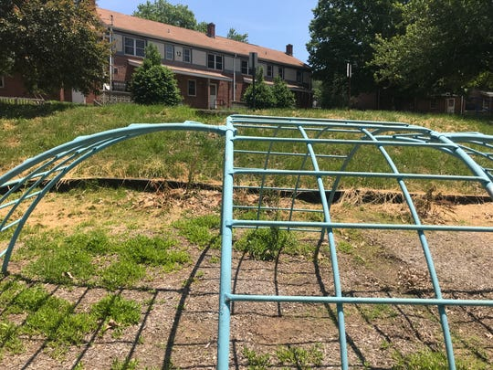 Playground equipment sits unused after residents were relocated from Lee Walker Heights public housing complex. The complex will be torn down and replaced with a $36.5 million mixed-income neighborhood, according to Asheville Housing Authority plans.
