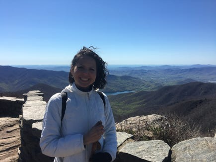 Citizen-Times outdoors writer Karen Chávez on a recent trip to Craggy Pinnacle, fully dressed.