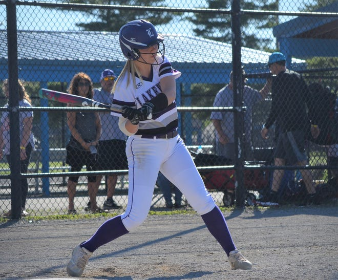 Lakeview's Chloe Baum takes a swing during the title game of the All-City softball tourney at Bailey Park on Thursday.