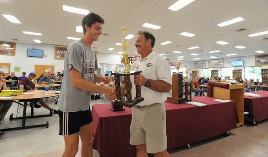 Owen senior Wyatt Lehman receives the Male Athlete of the Year Award from athletic director Anthony Lee.