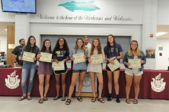 Seven of the eight Warlassies selected to the Western Highlands Conference all-conference team for 2019. The total number of all-conference selections for the Owen girls soccer team is the most ever in a season for the program.