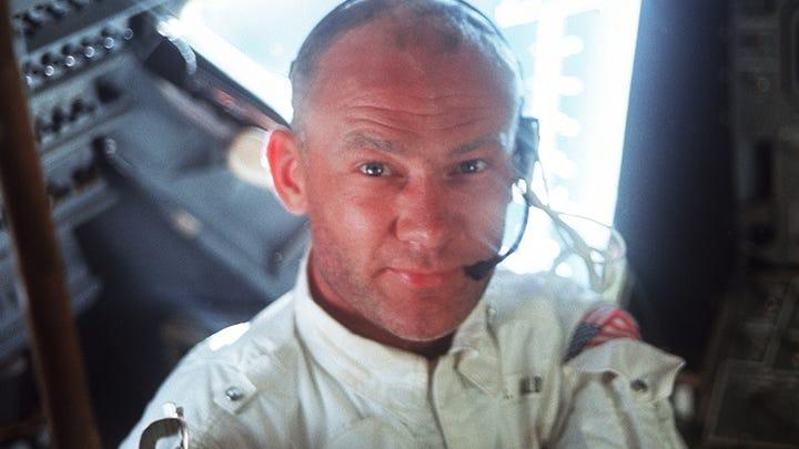 This interior view of the Apollo 11 Lunar Module (LM) shows astronaut Buzz Aldrin, lunar module pilot, during the lunar landing mission.