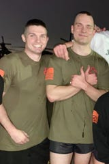 Vermonters Mike Trombly, left, and Dan McEnerney pose for a photo during their recent deployment in the Middle East with the Vermont Army National Guard.