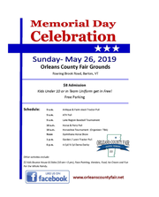 The schedule of events for the Memorial Day Celebration in Barton, VT.