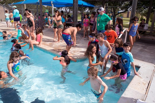 Third-graders from Flour Bluff Elementary participate in a good choice award party at Parker Pool on Friday, May 24, 2019. The pool celebrated a Re-Grand Opening following  extensive renovations and enhancements to the pool.