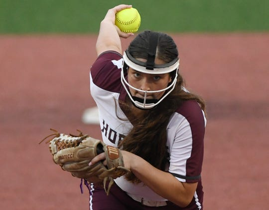 Flour Bluff's Kayci Spittler winds-up the pitch during the game against Calallen, Thursday, May 23, 2019, at Cabaniss Softball Field.