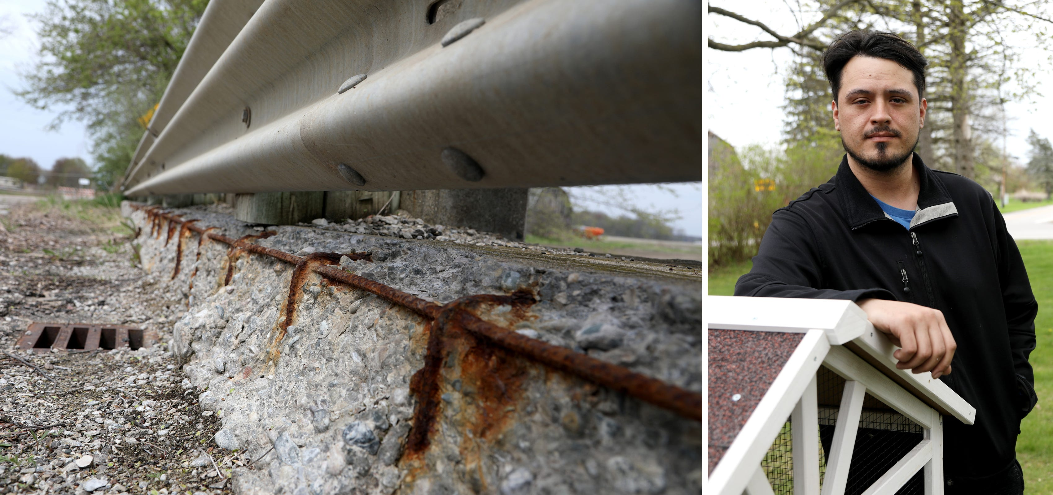 Robert Bradley's family lives near a closed bridge on 25 Mile Road near Card Road in Macomb Township. The bridge, which is closed, has exposed rebar, heavy rusting and crumbling concrete.