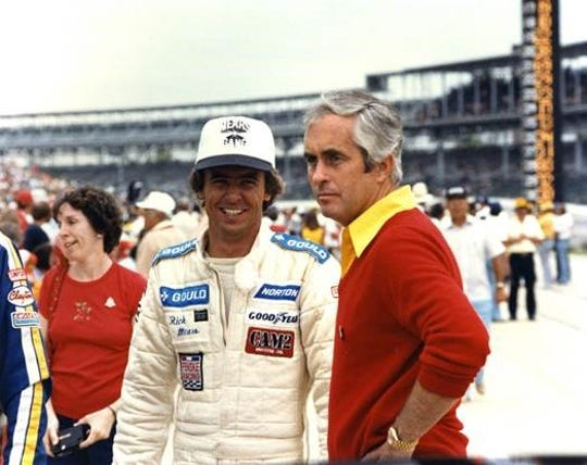 Rick Mears, left, won four Indianapolis 500s driving for team owner Roger Penske.
