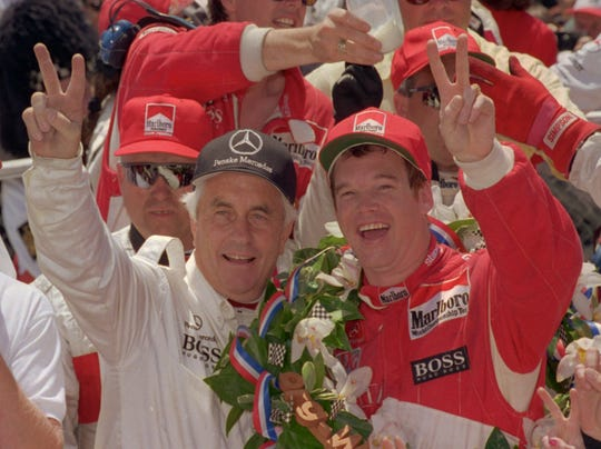 Al Unser Jr., right, won the 1994 Indianapolis 500  for owner Roger Penske with one of the most dominating cars in IndyCar history. The engine he used was banned about a month later.