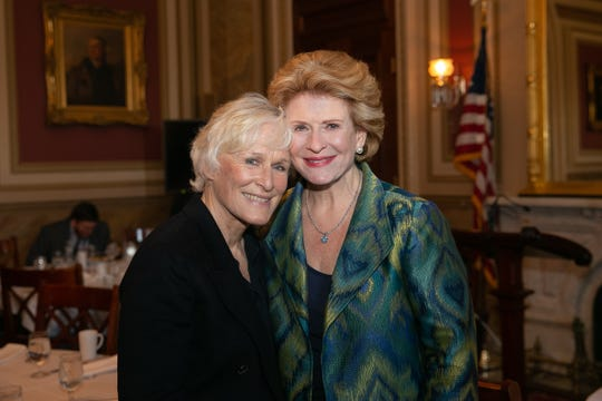 Actress Glenn Close with Sen. Debbie Stabenow on May 16 as part of Close's daylong visit to Washington to talk about the importance of mental health and the need for more federal resources to help with mental health issues and education.