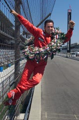 "Indianapolis 500 champion Helio Castroneves had his chance to do his trademark ""fence climb"" after three Indianapolis 500 wins for Team Penske."