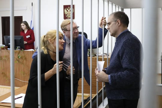 US citizen suspected spy Paul Whelan (right) attends a hearing of investigators' motion to extend his arrest at the Lefortovsky district court in Moscow, Russia, 24 May 2019. Paul Whelan, a citizen of the United States, Britain, Canada and Ireland, was detained on suspicion of spying by Russian Federal Security Service (FSB) at the end of December 2018 in Moscow. If found guilty he could be sentenced up to 20 years in jail, media reported.