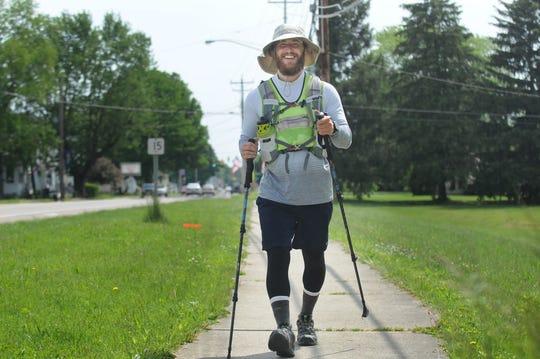Mike Posner began his walk across America in mid-April in New Jersey.